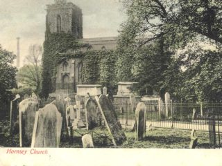 Hornsey Church with dust destructor in background