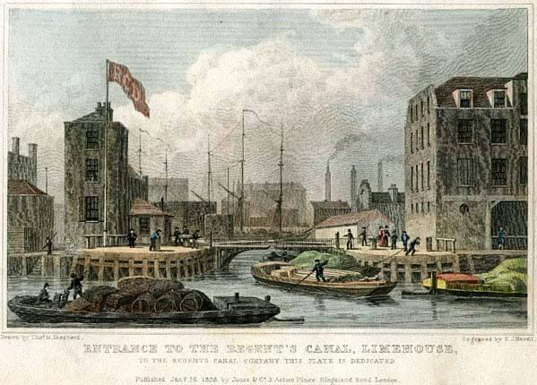 Regents Canal Dock, 1828