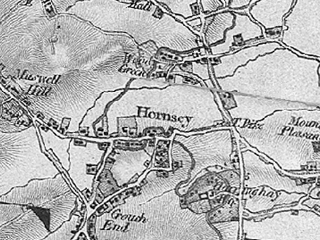 Old map of Hornsey