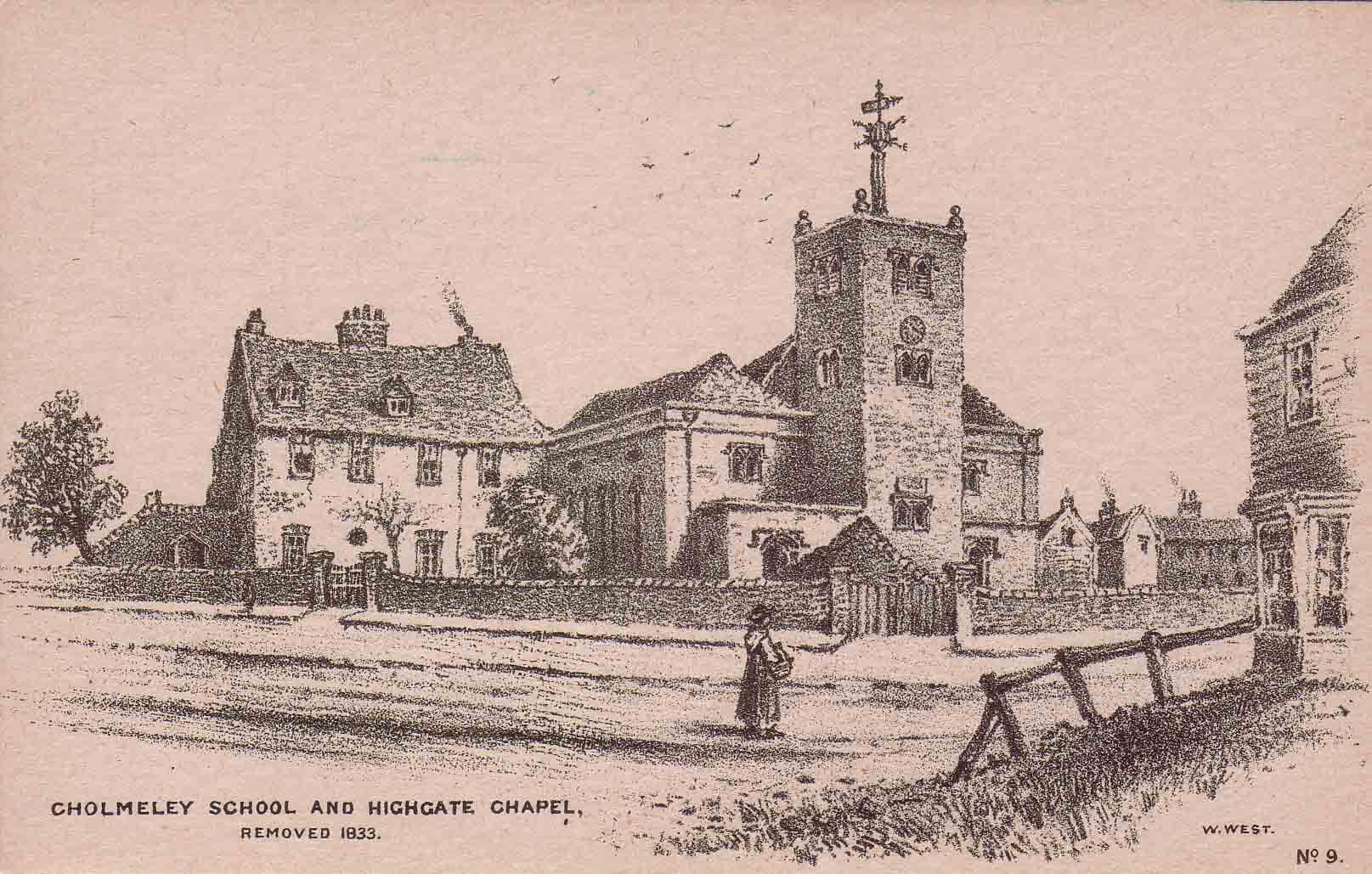 Highgate School chapel, William West redrawing of old print