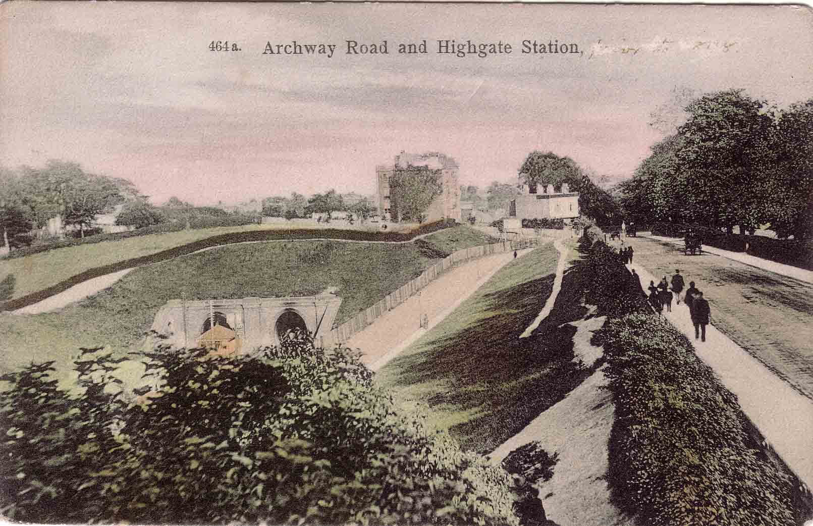Postcard of Archway Road and Highgate Station