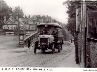 LGOC bus passes Muswell Hill Station