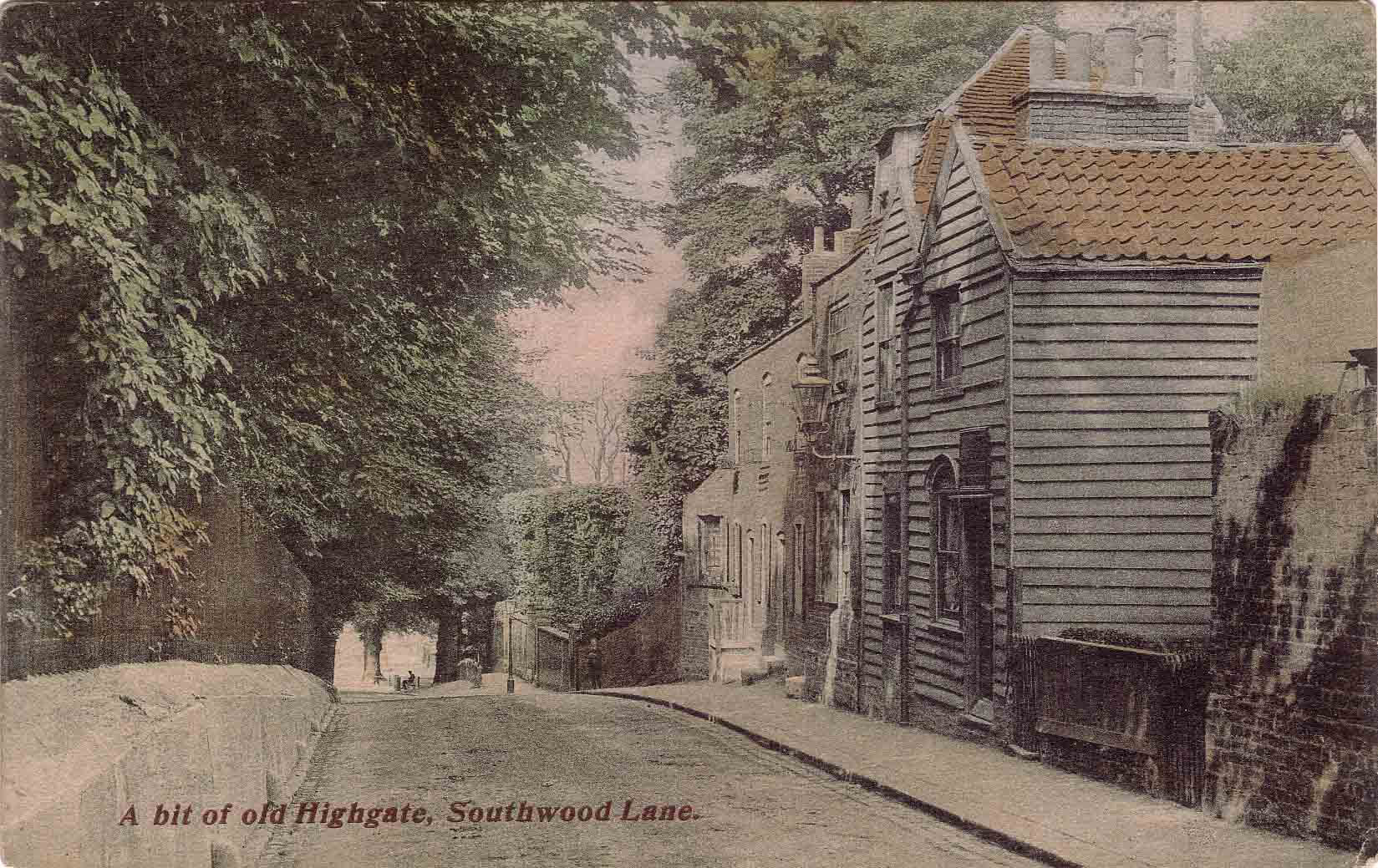 Postcard of Lower part of Southwood Lane, Highgate