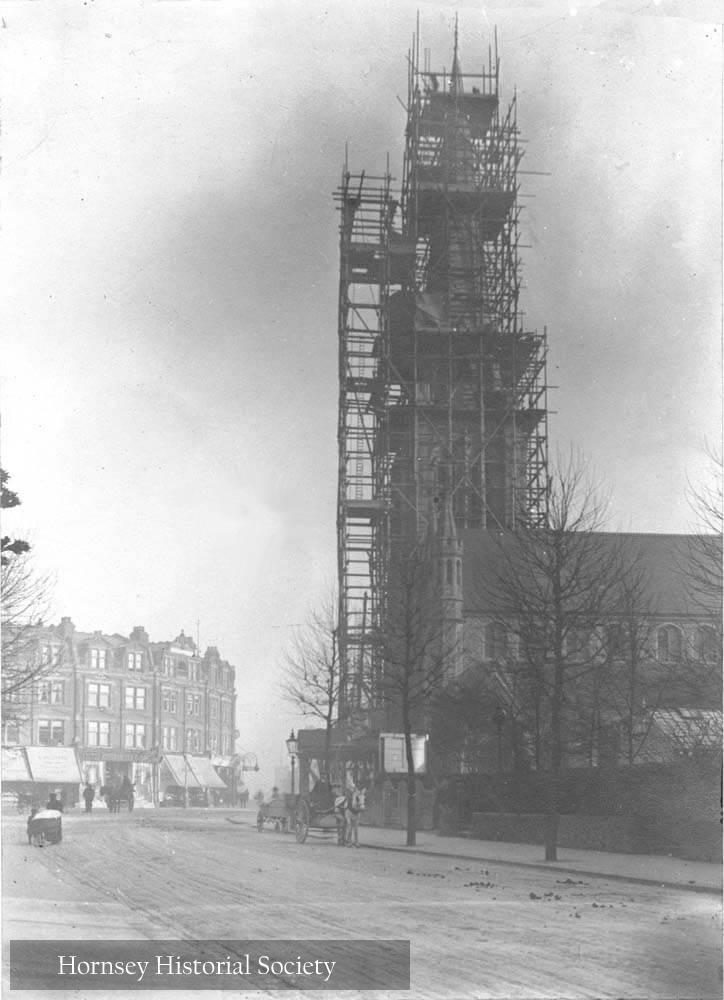 Constructing the tower and  spire St James Church Muswell Hill 1909