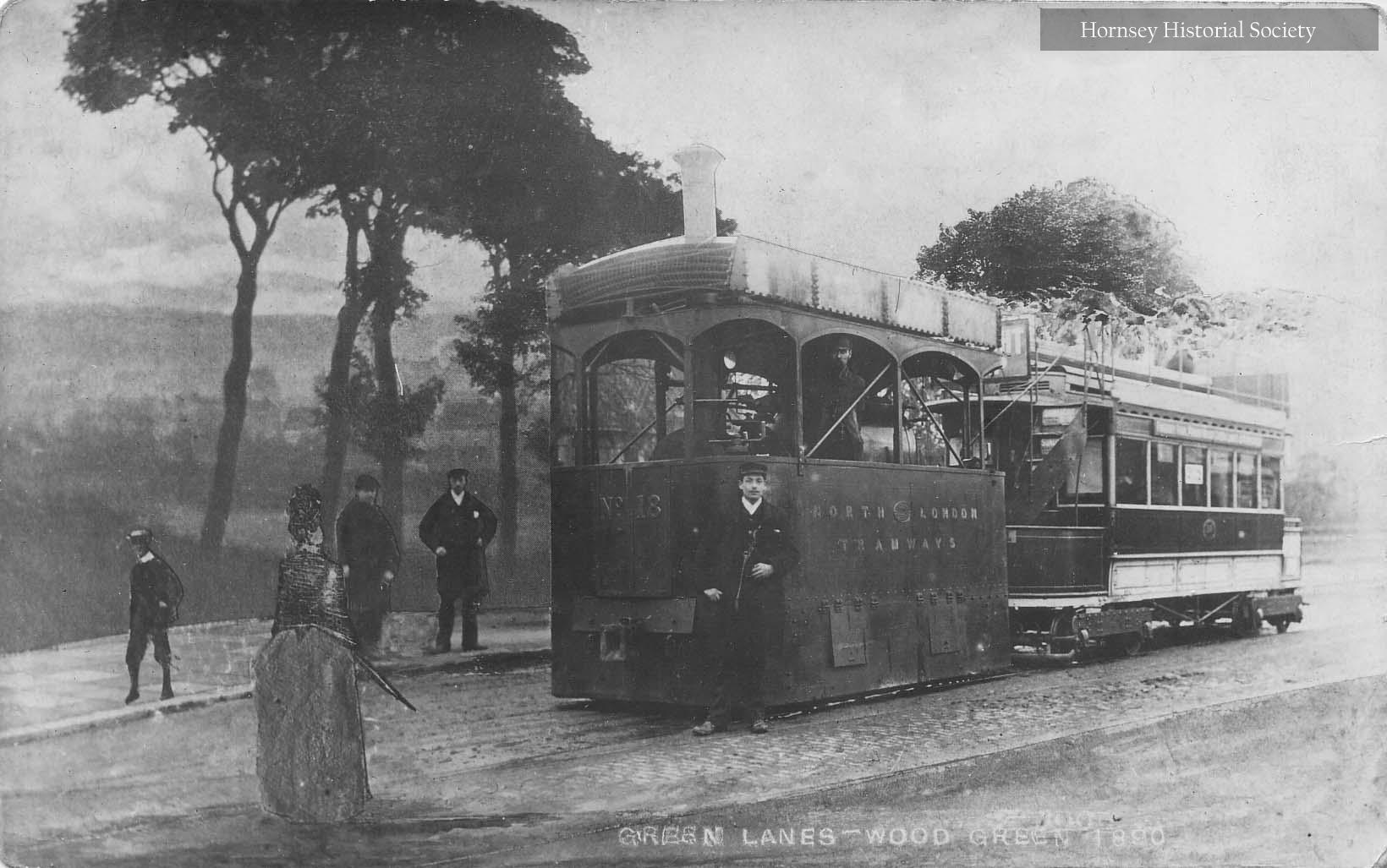 Green Lanes steam tram at Duckett's Common, 1889