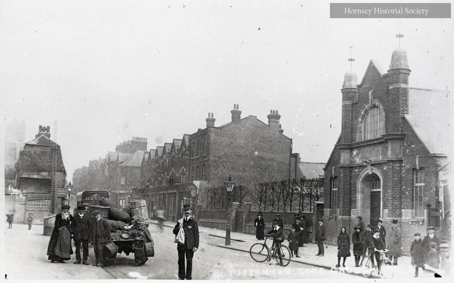 Manor Cottages (left) and Salvation Army Hostel (right) Tottenham Lane, Crouch End