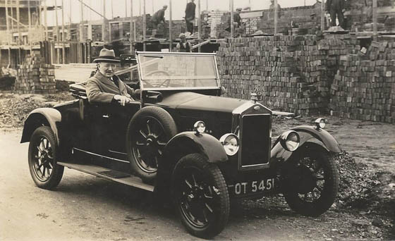 WJ Collins in Wolsley car c1925