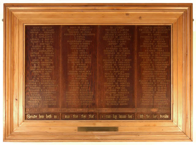 St Mary's Tower Memorial Board