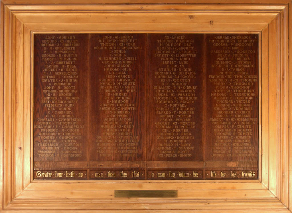 Index Of Memorial Board Names Hornsey Historical Society