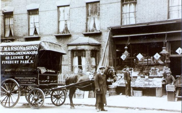 Street scene of Stroud Green 1904 with horse-drawn cart of T Marson and Sons