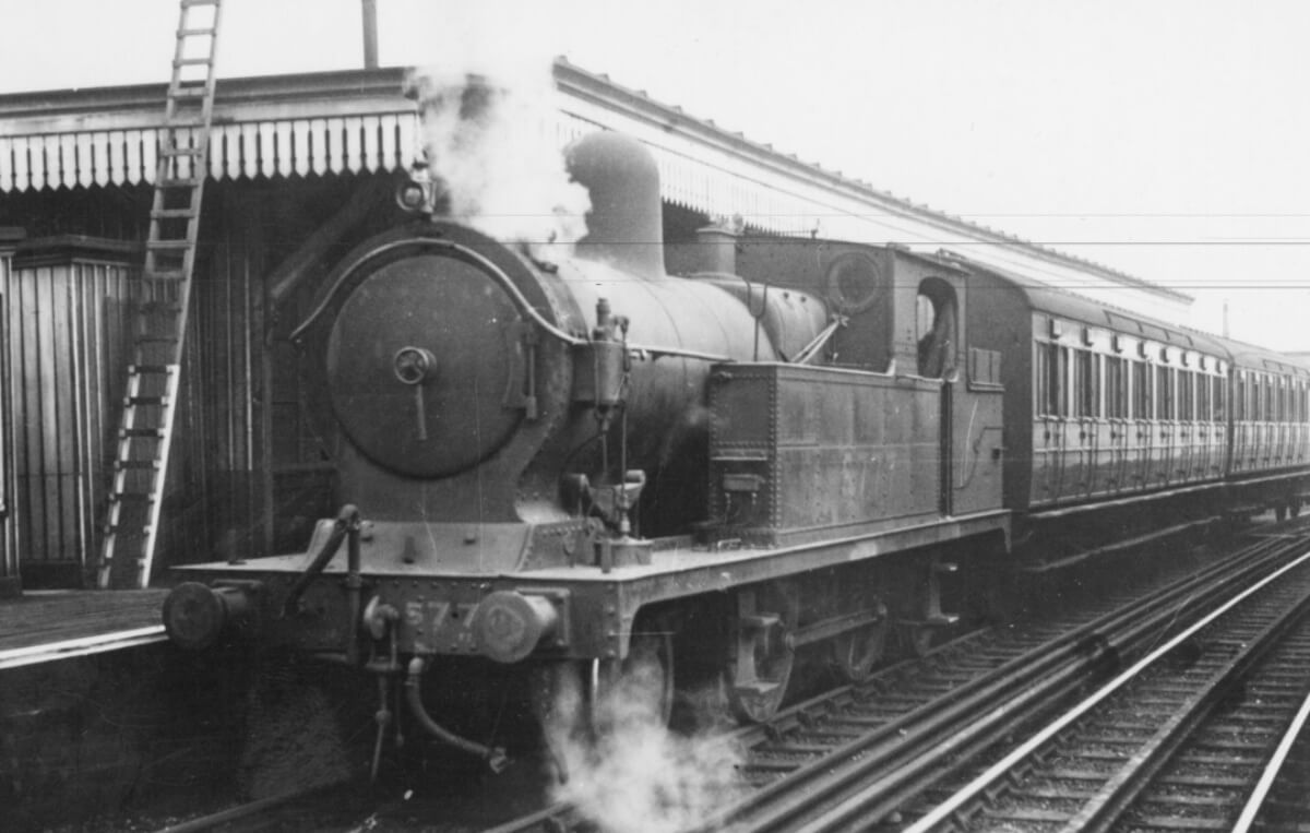 Steam train at a station