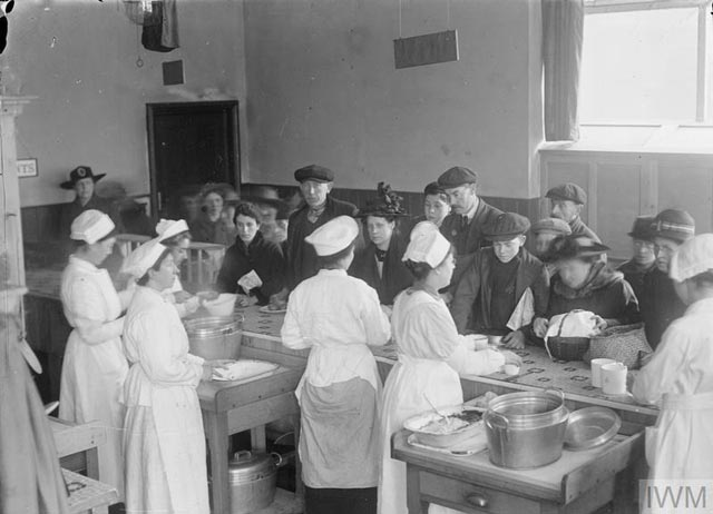 Female cooks serving the public at a National Kitchen during the First World War